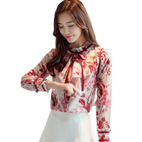 Ruffles Women Blouse 2019 Summer new red chiffon women office lady slim floral elegant shirts fashion tops
