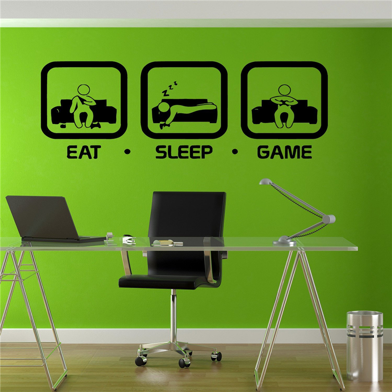 Eat Wall Art eat sleep game wall decal gaming joystick playing sticker wall