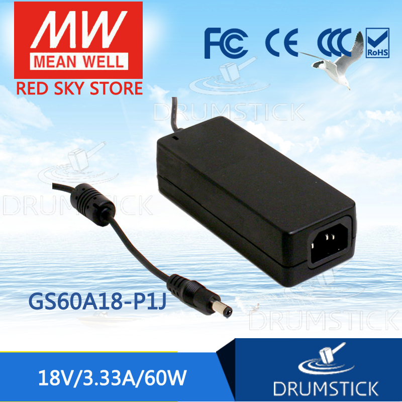 Selling Hot MEAN WELL GS60A18-P1J 18V 3.33 meanwell GS60A 18V 60W AC-DC Industrial Adaptor набор bosch ножовка gsa 18v 32 0 601 6a8 102 адаптер gaa 18v 24