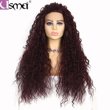 USMEI HAIR lace front wig synthetic Long kinky curly for women free par