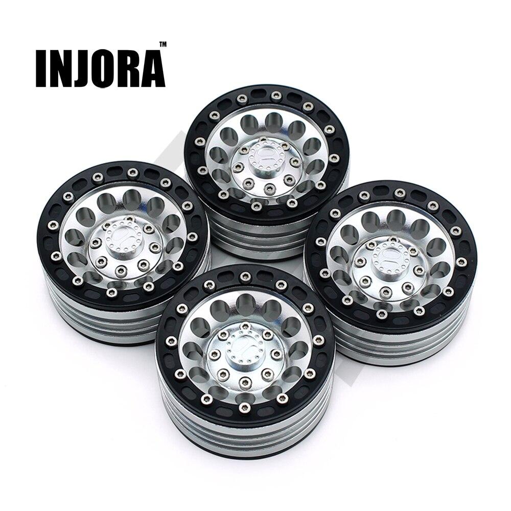4 unids/set 1:10 RC Crawler de aleación de Metal 1,9 pulgadas llanta de la rueda de BEADLOCK para 1/10 Axial SCX10 TAMIYA CC01 D90 D110