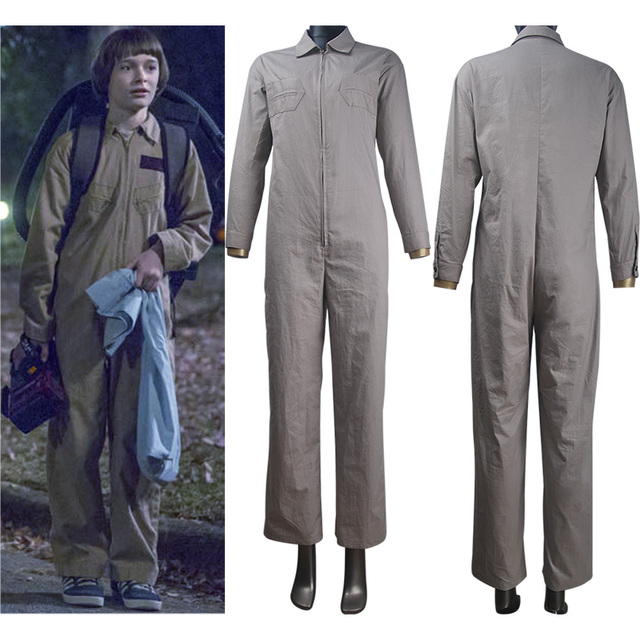 stranger things season 2 eleven el cosplay costume ghostbusters outfit jumpsuit halloween costume daily use christmas