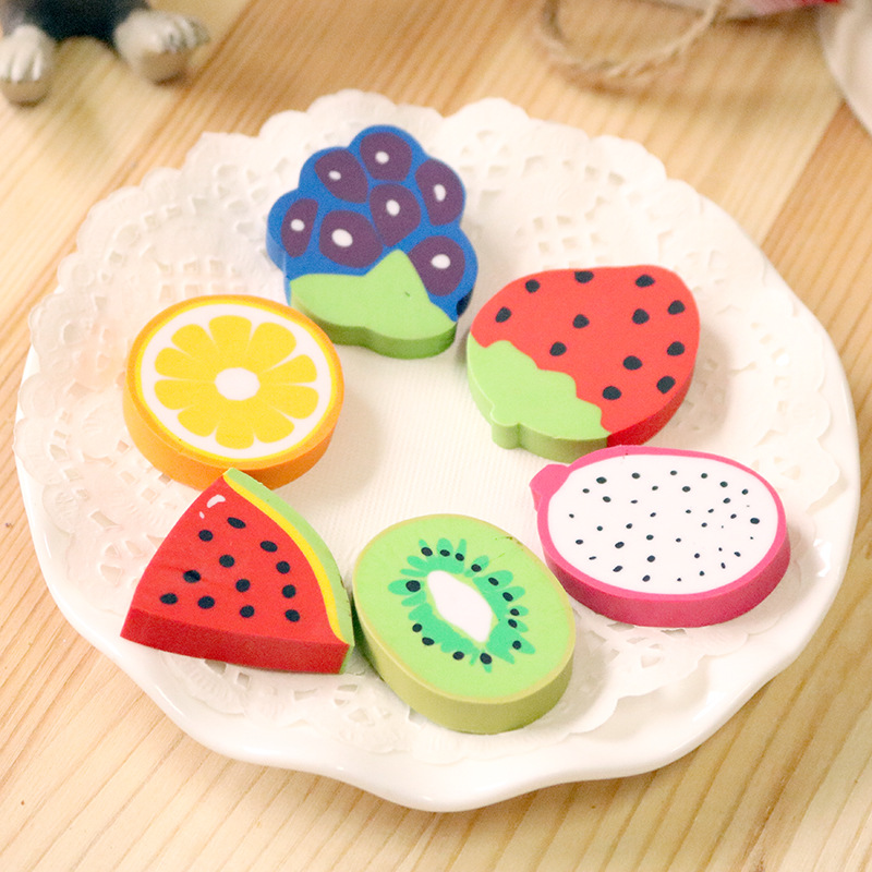 2Pcs/Pack New Cartoon Oranges Watermelons Fruits Novelty Eraser Rubber Primary School Student Prizes Gift Stationery E0547