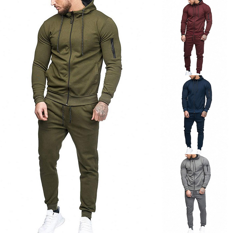 HTB1CZa9aDHuK1RkSndVq6xVwpXaZ HEFLASHOR Men Drawstring Sportwear Set Fashion Solid Sweatshirt&Pants Tracksuit Casual Zipper Hoodies Outwear Clothes 2019