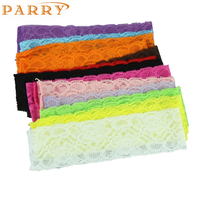Newly Design 15pcs/lot Babies elastic lace headband Baby Girls DIY hair band accessories free shipping May11