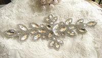 bridal Sash applique, rhinestone Applique, crystal rhinestone trim, bridal headpiece, RA067