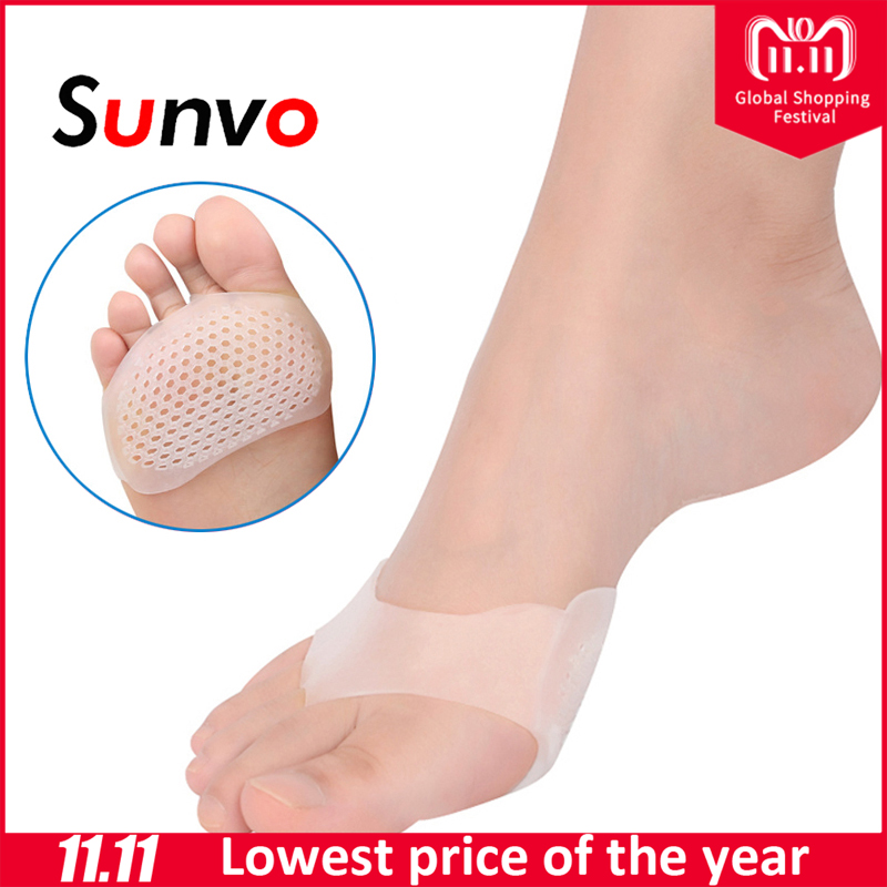 Sunvo Silicone Gel Honeycomb Forefoot Pads for Women High Heel Shoes Sore Anti-slip Half Yard Insole Pain Relief Toes Insert Pad sxtt women non slip gel invisible forefoot pad insole high heel shoes ankle socks anti slip hot women lady beauty relieve pain