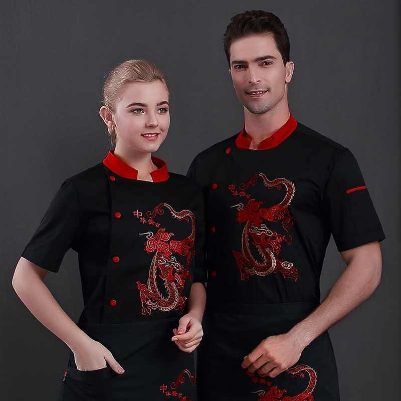 2019 новая форма шеф-повара, ресторанная кухонная униформа, мужские и женские рубашки с коротким рукавом, дышащая летняя одежда, рабочая одежда, обслуживание еды