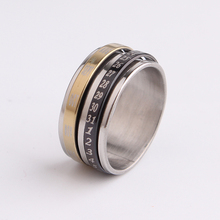 free shipping Digital number Double Layer Rotation rings 316L Stainless Steel finger ring men jewelry wholesale