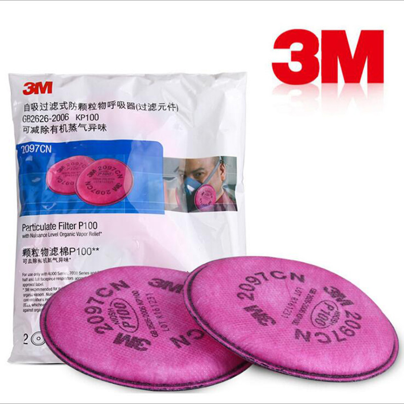 2/4/6/8/10 Package 3M 2097 Painting Spray Industry particulate P100 Filter For 3M 6200 7502 Series Gas Mask Filters 3m 2097 particulate filter p100 gas mask 6200 7502 use series respirator against painting spraying glass fiber