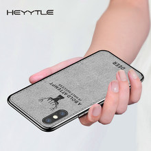 Heyytle New Ultra Ultra Canvas Silicon Case For iphone 7 8 6 6s Plus X Xs Max Xr Deer case Fabric Cloth Texture Protective Cover(China)