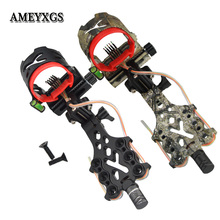 """Archery Bow Sights With LED Light Can Adjust 5Pin 0.019"""" Fiber  Right Hand Fit Compound Bow Shooting Hunting Aiming Accessories"""