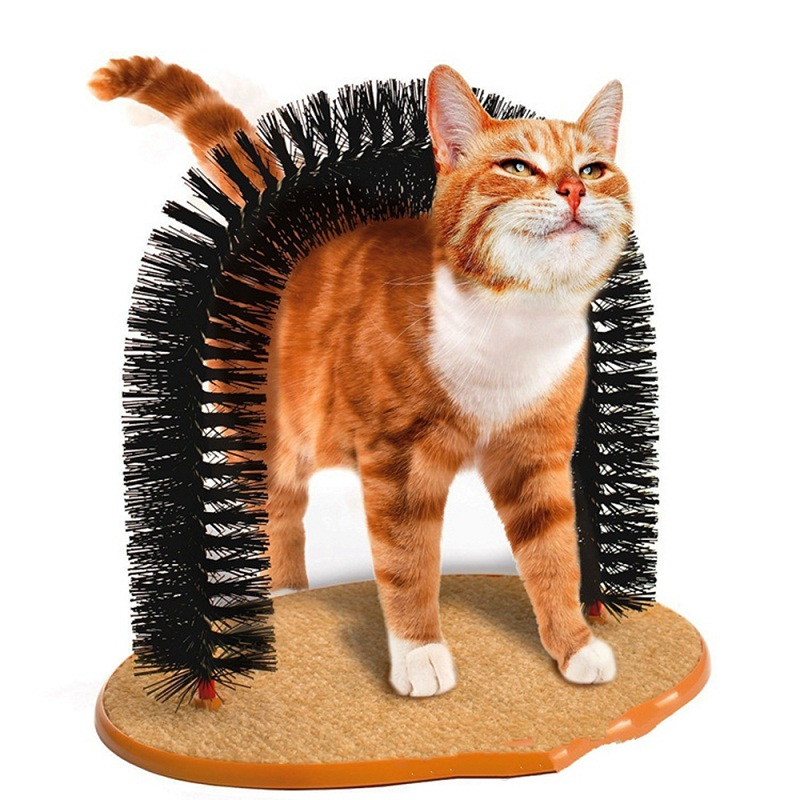 Good Arch Pet Cat Self Groomer Tool With Round Fleece Base Cat Toy Brush Toys For Pets Scratching Devices