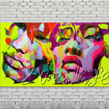 Palette knife portrait Face Oil painting Character figure canvas Hand painted Francoise Nielly wall Art picture 505