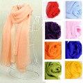 Горячая распродажа женщины 100% длинный шелковый шарф мыс расширил сплошной цвет равнина супер-большой шифоновый шарф мода платки бесплатная доставка b16