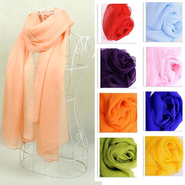 Mujeres calientes de la venta 100% bufanda de seda larga del cabo ampliado color sólido simple super gran gasa de la bufanda mantones de moda envío gratis b16