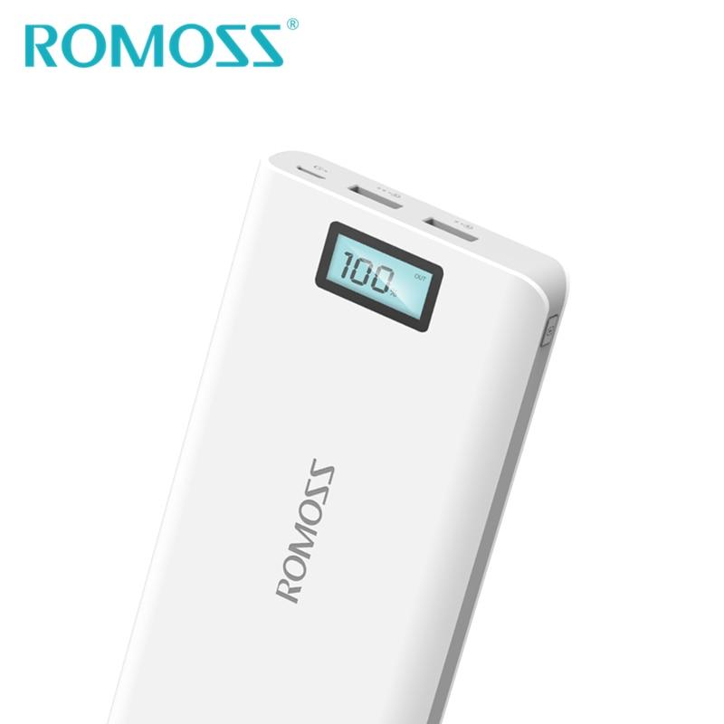 Оригинальный внешний аккумулятор ROMOSS, 20000 мАч, Sense 6 Plus, 18650, 2 usb-разъема для зарядки телефонов Samsung, iPhone