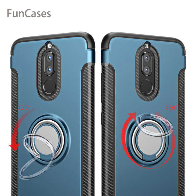 Para Huawei Companheiro 10 Lite Caso Capa Colorida 360 Anel Magnético de Metal Titular de Silicone Suave TPU Caso De Luxo para Huawei companheiro 10 Lite