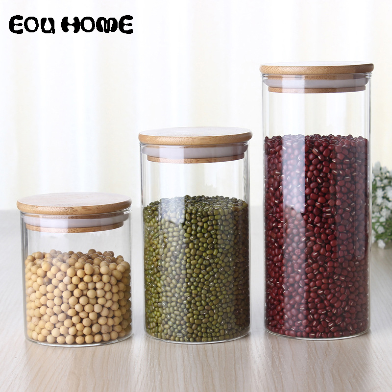 450/650/950ml Multipurpose Bamboo Lid Glass Airtight Canister Storage Bottles Jars Grains Tea Leaf Coffee Beans Candy Food Jar moulin à sel et poivre