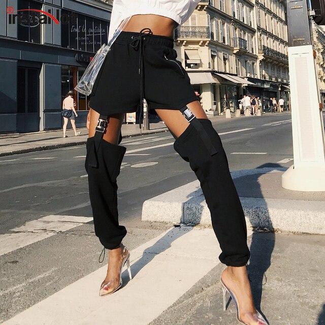 InstaHot negro cordón hebilla lápiz pantalón Mujer cremallera alta cintura Harem Cargo pantalones Streetwear Casual sólido Rock Pantalones
