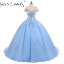 Hellblaue Tüll-Quinceanera Kleider Vestido de Festa Ballkleid-Abschlussball-Kleid-Kleid-Perlen
