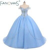 Light Blue Tulle Quinceanera Dresses vestido de debutantes e 15 anos barato Vestido de Festa ball gown prom Dresses Beads