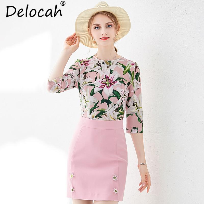 Kadın Giyim'ten Kadın Setleri'de Delocah 2019 Kadın İlkbahar Yaz Takım Elbise Pist Moda Vintage Çiçek Baskılı t shirt + Zarif Düğme Pembe Etek Iki parça Set'da  Grup 1