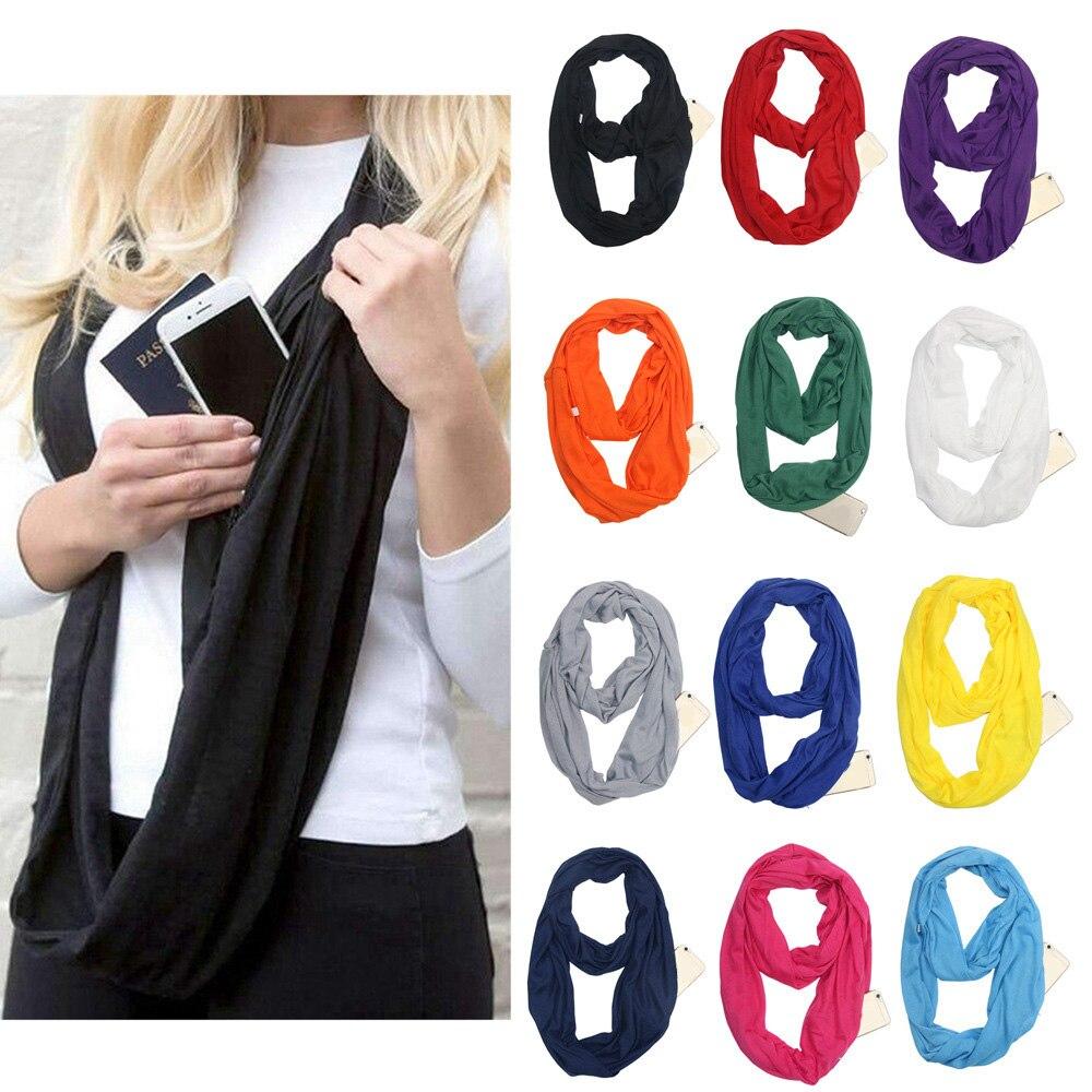Grandwish de moda bufanda de las mujeres con cremallera bolsillo infinito bufanda todo encuentro lloguer de viaje bufandas... CI007