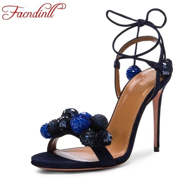 Novo 2017 moda dedo aberto cruz amarrada beading finos saltos altos gladiador sapatos de verão sexy vestido das mulheres do partido sapatos mulher plus size