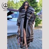 2018 Новое поступление полным ходом длинные из натурального меха енота пальто с большим капюшоном пальто мех натуральный Для женщин пальто з...
