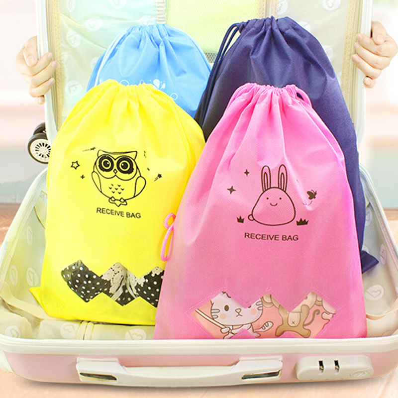 6 Colors Drawstring Bag Funny Cartoon Storage Women's Cloth Sundries Receive Bags Travel High Quality Travel Softback Backpacks