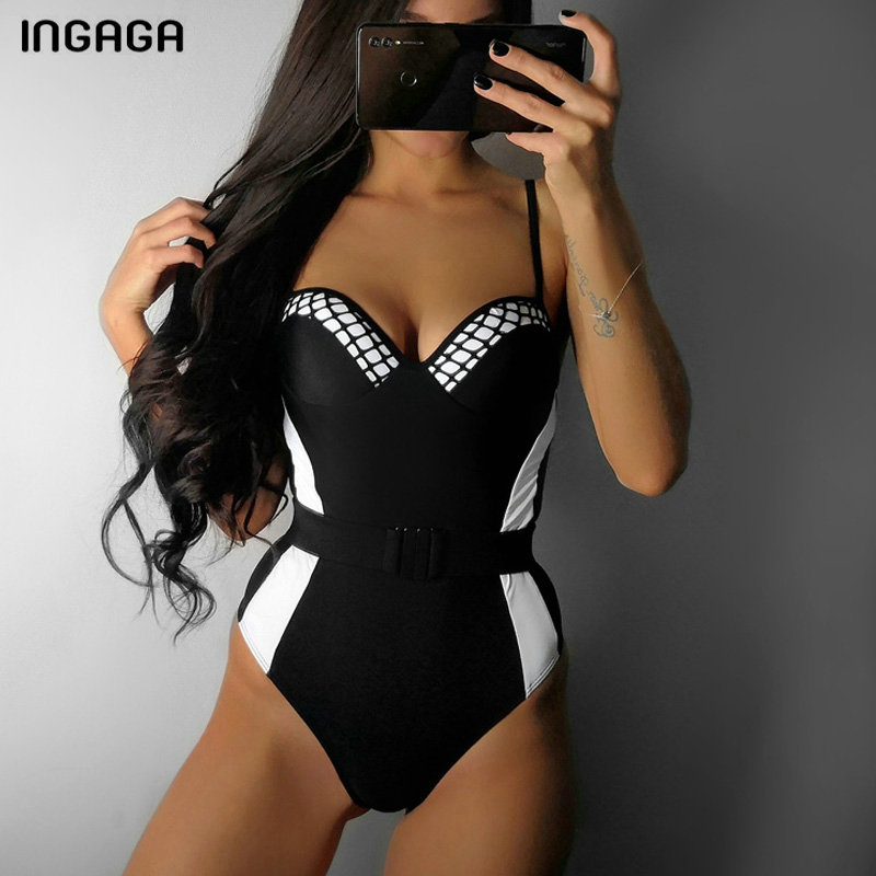 INGAGA Solid One Piece Swimsuit Push Up Swimwear Women High Cut Swimsuits Bathing Suits New 2019 Sexy Strap Beachwear-in Body Suits from Sports & Entertainment on Aliexpress.com | Alibaba Group