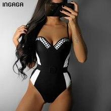 INGAGA Solid One Piece Swimsuit Push Up Swimwear Women High Cut Swimsuits Bathing Suits New 2019 Sexy Strap Beachwear