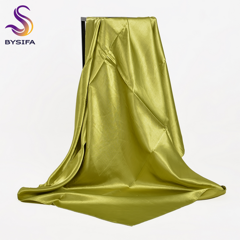 [BYSIFA] Fluorescent Green Women Square Scarves Wraps Autumn Winter Luxury Large Satin Silk Scarf Muslim Head Scarf 110*110cm