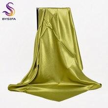 Fluorescent Green Women Square Scarves Wraps Autumn Winter Luxury Large Satin Silk Scarf Muslim Head Scarf 110*110cm