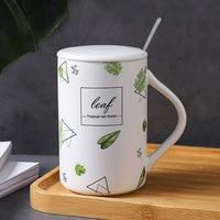 Cute Coffee mug Nordic leaf coffee cup porcelain funny mug with lip spoon tea cup present gift