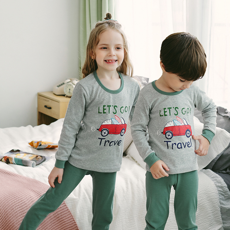 New Winter Children's Pajamas Cotton Pyjamas For Boys Girl Cartoon Nigthwear 2pcs Sleep Suit Kids Clothes Baby Pijama Infantil(China)