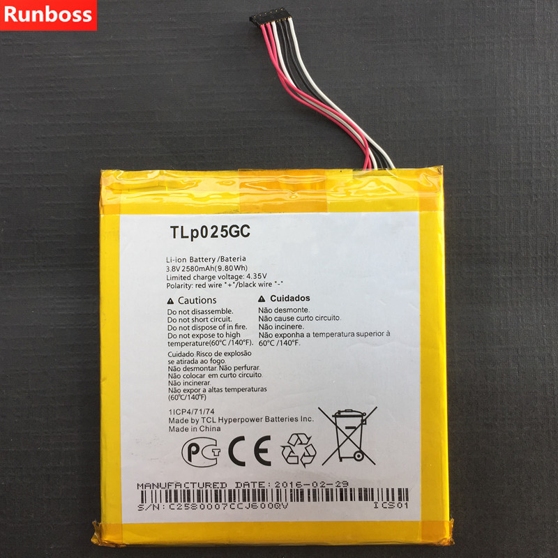 New Original 2580mAh TLP025GC Battery For Alcatel One Touch Pixi 4 (7) 3G 9003X 9003A TLp025G2 Mobile Phone Batteries image