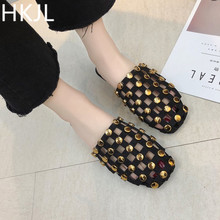 HKJL Summer 2019 cool slippers female fashion all-in-one rivet students flat bottom wear hollow head loafers half A132
