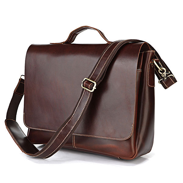 Nesitu Vintage Red Brown Genuine Leather Men Messenger Bags Briefcase 14 Laptop Portfolio M7108