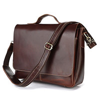 Nesitu Vintage Red Brown Genuine Leather Men Messenger Bags Briefcase 14'' Laptop Portfolio #M7108