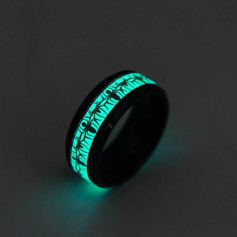 Preto Anéis De Aranha De Aço Inoxidável para Homens Crescem no Escuro Luminoso Azul Anel Gótico Legal do Presente de Natal Do Partido Jóias