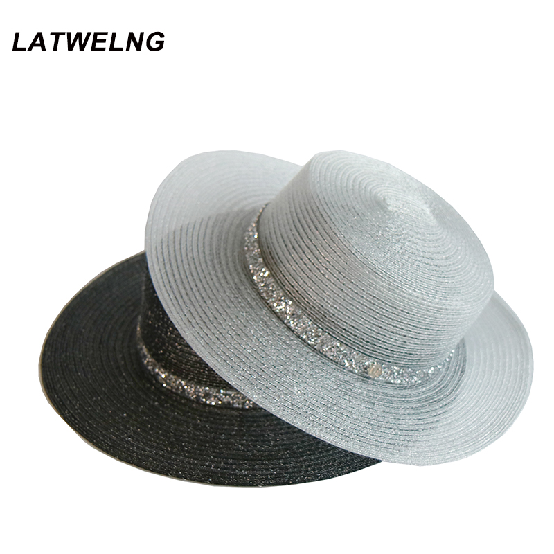 2019 New Ladies Black Church Hat With Shining Belt UV Hats Fashion Letter Decoration Flat Caps Panama Hat Summer Dress Cap