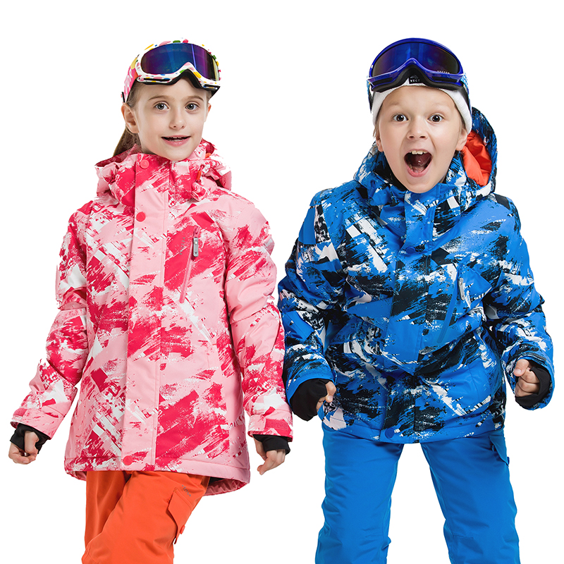 Extra Thick Warm Kids Ski Hood Synthetic Jacket Coat Snow Winter Outdoor Waterproof Windproof Boy Girls Skiing Snowboard Clothes