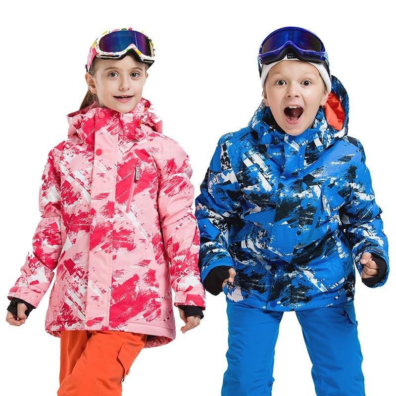 Extra Thick Warm Kids Ski Hood Synthetic Jacket Coat Snow Winter Outdoor Waterproof Windproof Boy Girls Skiing Snowboard Clothes