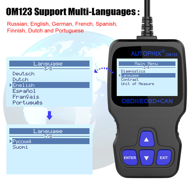 Autophix OM123 OBD2 Scanner Car Diagnostic Tool OBD 2 Automotive Scanner ODB Code Reader PK ELM327 1.5 CR3001