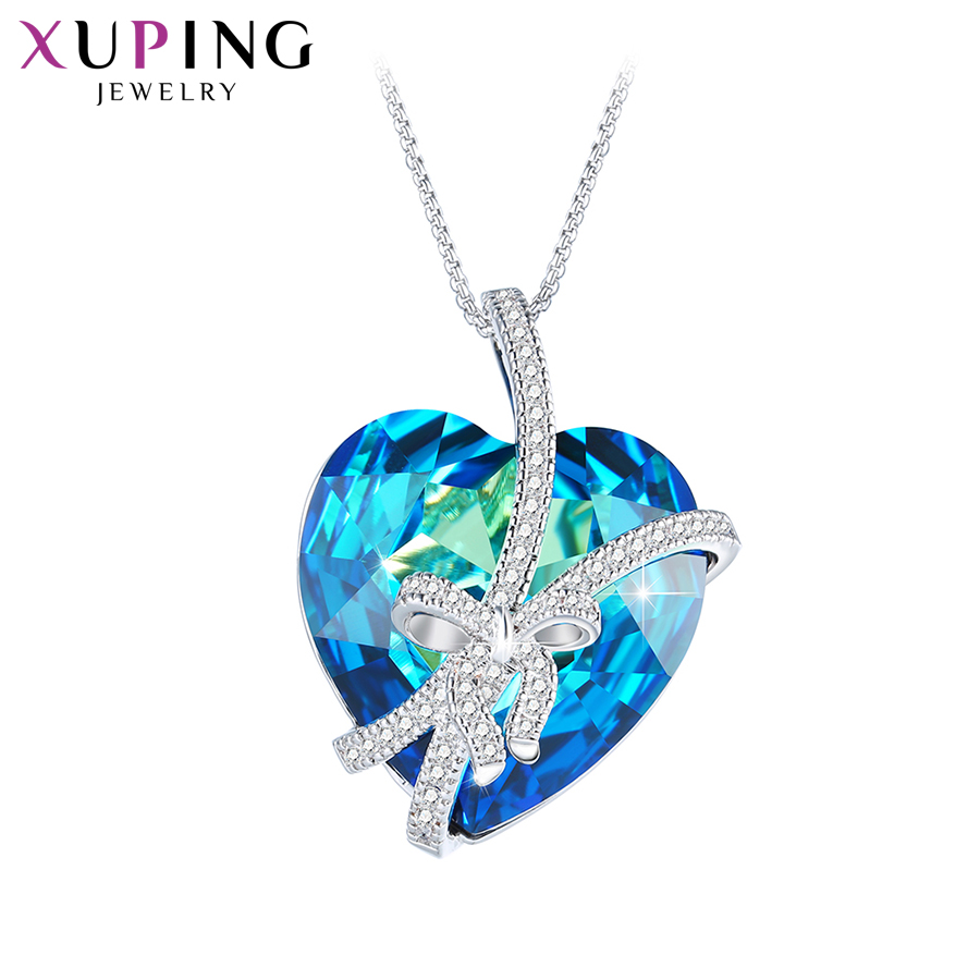 Xuping Heart Style Ocean Pendant Necklaces Romantic Crystals from Swarovski Charming for Women Valentine's Day Gifts M64-40128