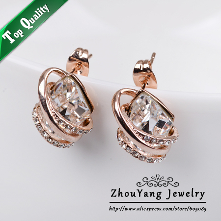 Top Quality ZYE506 Noble Crystal  Rose Gold Plated Stud Earrings Jewelry  Austrian Crystal Wholesale