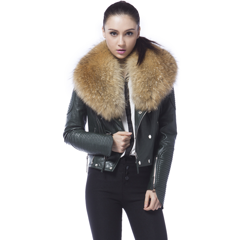 Free shipping genuine women sheep leather jacket 100% real sheep leather jacket with raccoon fur collar-in Leather Jackets from Women's Clothing    2
