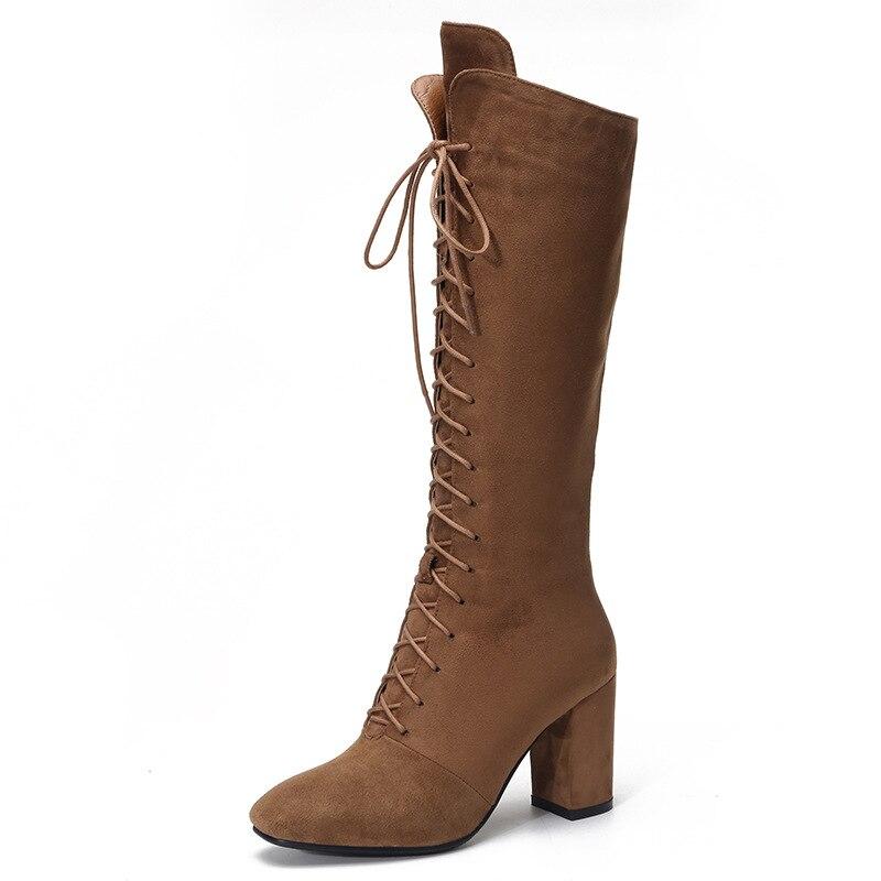 Tobillo Up Danza Botas Negro Zapatos 2019 brown Moda De Plana Altas Mujeres Mujer Rodilla Canvas Nieve Largas Del Lace Nuevas nwq6w4Fv